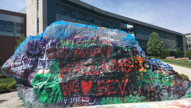 The Rock is painted, Wednesday, May 2, 2018, in response to an announcement that Beverly Davenport's appointment as chancellor will end.