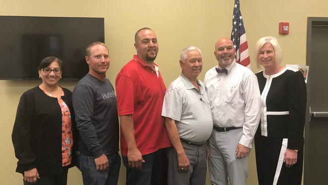 Loving Municipal School Board member chose Lee White as superintendent of Loving Schools May 2. Pictured, left to right, Leonora Hernandez, Chance Parsons, Cruz Onsurez, Francisco Chacon, Lee White and Ann Lynn McIlroy.