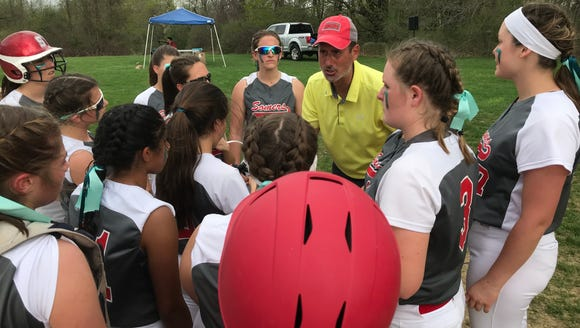 Somers head coach Dave Scagnelli talks to his team