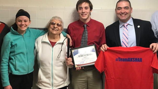 Chenango Valley High School senior RJ Santa Croce was recognized by Senator Fred Akshar as one of Akshar's All-Stars.
