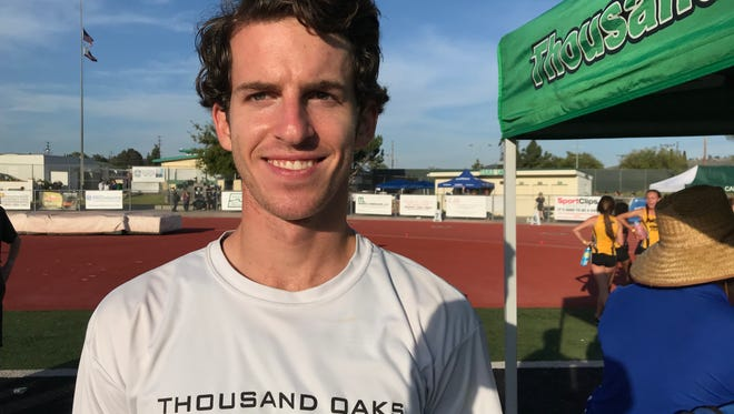 Thousand Oaks High senior Winston Short won the Marmonte League championship in the boys 300-meter hurdles on Friday at Thousand Oaks High.