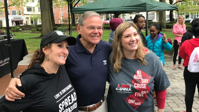 Sen. Robert Menendez with Laurie Litt, CEO of New Jersey AIDS Services Morristown, left, and Joann McEniry, COO, at the start of the 2018 New Jersey AIDS Walk in Morristown. May 6, 2018.