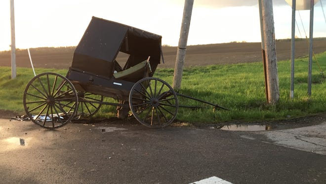 No major injuries were reported after a crash between an Amish buggy and an SUV at Franklin Church Road and Ohio 603 on Sunday, May 6, 2018. The buggy's driver was cited with failure to yield from a stop sign.