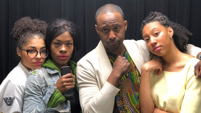 Cast of the Crossroads Theatre Company world premiere Back to the Real. Left to right: Victoria Janicki, Aaliyah Habeeb, Landon G. Woodson,  and Regan Sims.