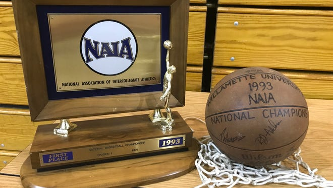 Memorabilia from Willamette University's only team national championship are on display during a celebration of the 25th anniversary of the men's basketball team's 1993 NAIA Division II national title.