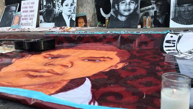 After a march, supporters gathered and held a vigil for Jose Antonio Elena Rodriguez on May 10, 2018, at the site where border agent Lonnie Swartz shot and killed him.