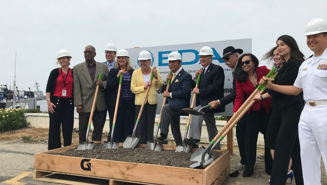 The Port of Hueneme and various local officials celebrate a groundbreaking of a project that will create more than 500 local jobs.