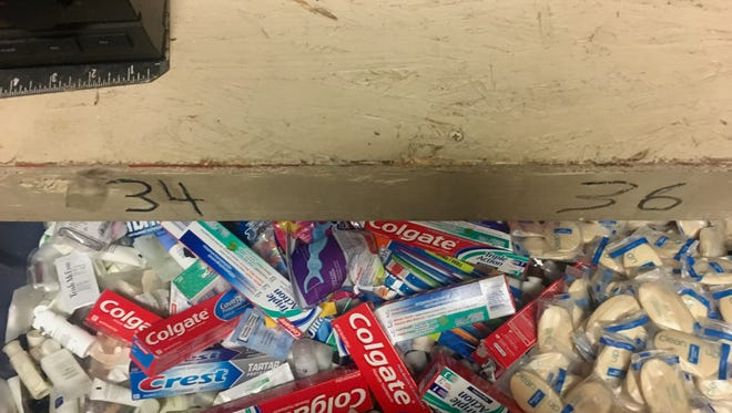 A box filled with hygiene products at the Coachella Valley Rescue Mission's emergency shelter in Indio.