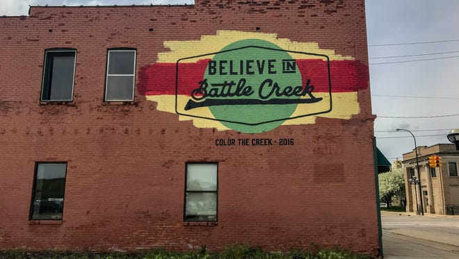 "The ""Believe in Battle Creek"" mural was painted on the side of the 249 W. Michigan Ave. building in 2016, at the first Color the Creek festival."
