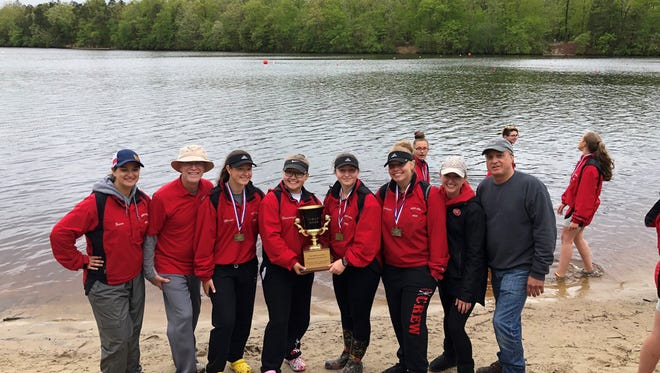 The girls' varsity 4 team of Kyra Balinge, Aubrey Messore, Rachel Slusarczyk and Megan Murie won a gold medal at Sunday's County Championships