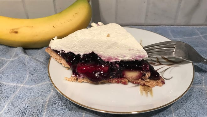 Using heavy whipping cream that is beaten and sweetened with a little sugar adds richness to an easy-to-make, no-bake Blueberry Banana Pie.