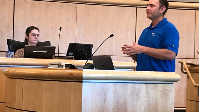 Redding Chamber of Commerce President Jake Mangas talks to the Shasta County Board of Supervisors on Tuesday.