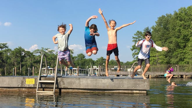 Summer starts at Wakulla Springs. From left, Jack Koon, Ellis Hawkins, Jasper Opel and Judah.
