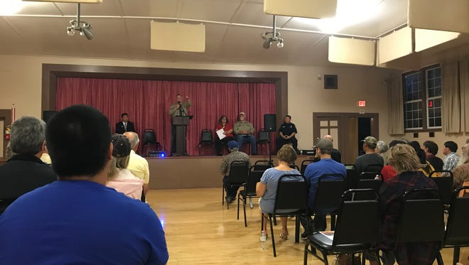 Siskiyou County Sheriff Jon Lopey speaks at the first-ever Hmong-American & Siskiyou County Leader Partnership Town Hall May 9 in Montague.