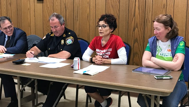 "Larisa Mendez Downes of Moms Demand Action speaks during the ""Gun Sense & Safety in Our Schools & Community"" panel on May 16, 2018."