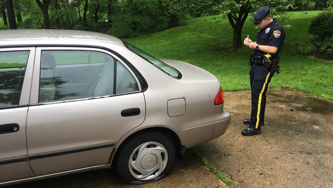 Newark police said eight vehicles parked in the Fairfield Development had their tires slashed overnight.