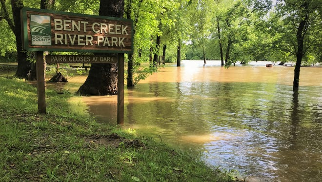 Bent Creek River Park, seen here in a file photo after flooding, has been closed this spring because of the COVID-19 outbreak. It was scheduled to be closed for about six weeks anyway, to accommodate work on a natural gas pipeline.