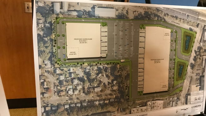 Proposed plans for two warehouses on 200 Gregg Street in Lodi.