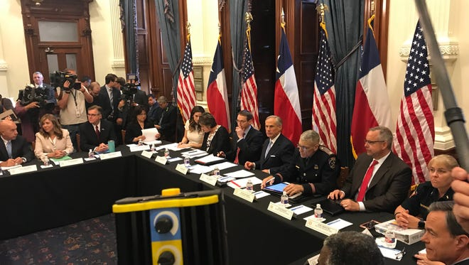 Texas Gov. Greg Abbott opens the first round-table discussion on gun violence May 22, 2018, at his offices in Austin.