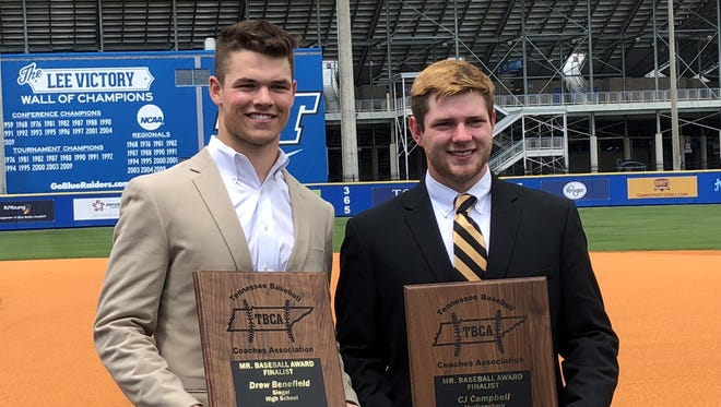 Siegel's Drew Benefield, left, and Central Magnet's C.J. Campbell were finalists for Tennessee Baseball Coaches Association Mr. Baseball awards.