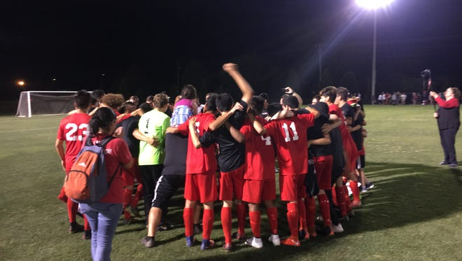 Loudon players celebrate after beating South-Doyle 4-1 in the Class AA state soccer tournament quarterfinals in Murfreesboro on Tuesday, May 22, 2018.