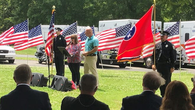 Members of the JPD Honor Guard hold the flags at the Flags of Freedom ceremony last Tuesday.