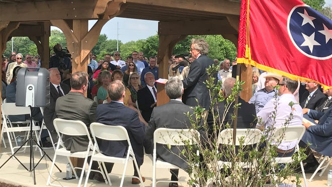 Gibson County Economic Development Director Kingsley Brock addresses the crowd at the Tyson Foods ground breaking ceremony on Wednesday, May 30, 2018.
