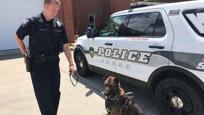 Tony Travagliante and K-9 Chase are the first-ever K-9 unit for Clyde police. Travagliante said he and Chase have already been used on drug sweeps since being activated eight days ago.