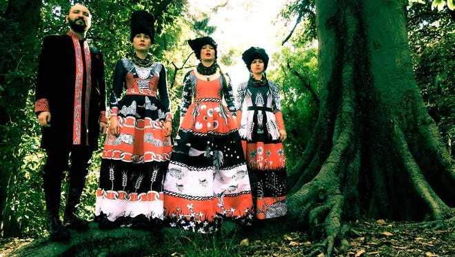 The Ukraine band DakhaBrakha performs on April 17, 2019 in Ruby Diamond Concert Hall.