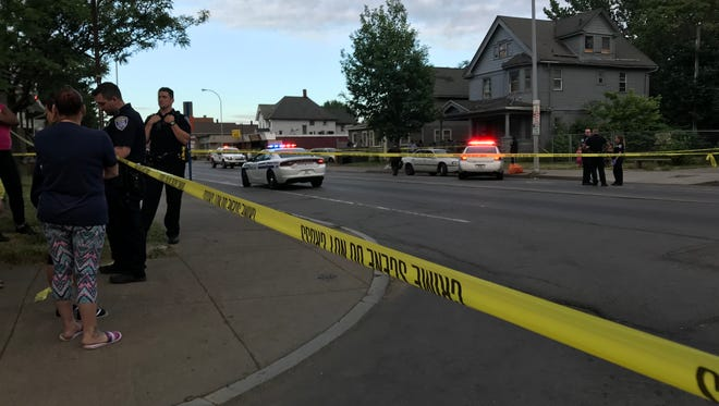 Rochester police on scene of a hit-and-run incident on Lyell Avenue Saturday night. A 3-year-old boy was struck and killed.