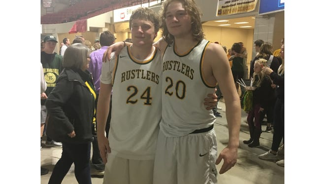 Sam Vining, left, and Garrison Rothwell have been friends and teammates throughout most of their lives. Their basketball careers include one more weekend of action as the Montana-Wyoming Series unfolds.
