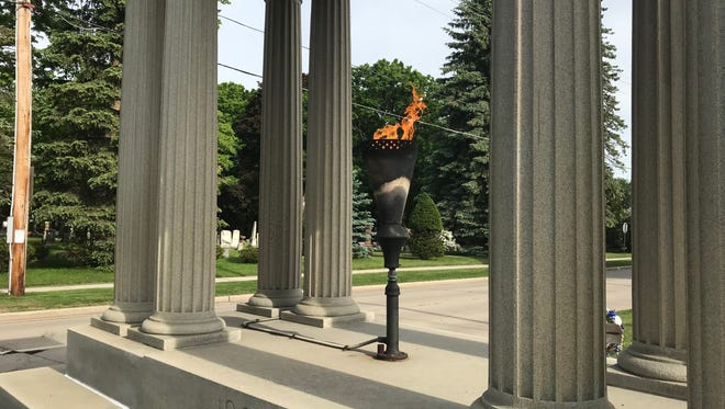 The Eternal Flame in the Sailors and Soldiers Monument on North 18th Street in Manitowoc.