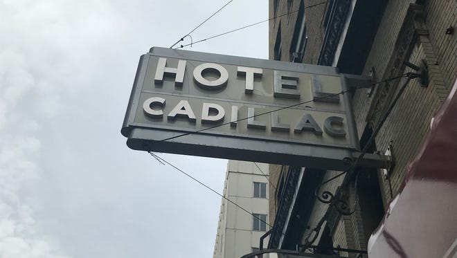 The sign outside the closed Hotel Cadillac.