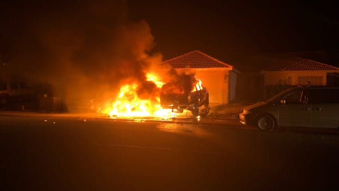 Three vehicles caught fire early June 10, 2018, in Mesquite. There were no injuries.