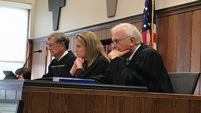 Sixth District Court of Appeals Judges James Jensen, left, Christine Mayle, middle and Thomas Osowik, right, hear appeals cases in Sandusky County Common Pleas Court as part of the court's community outreach program.