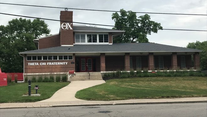 The Theta Chi Fraternity House at  1100 W. Riverside Ave., Muncie.