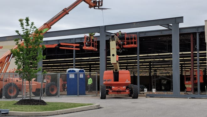 Construction continues at the new site of a Hobby Lobby in West Manchester Twp.