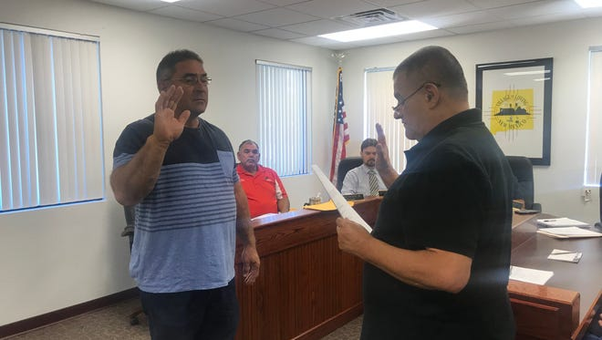 Mario A. Vasquez, new member of Loving Council, was officially sworn in Monday, June 11, 2018, at council's regular meeting.