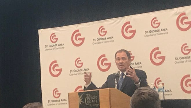 Utah Gov. Gary Herbert speaks at the St. George Area Chamber of Commerce Business Summit in St. George on Wednesday, June 13, 2018.