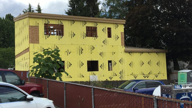 Construction of a new office building at 2332 Saginaw St. S, viewed from Commercial St. SE, in Salem, Oregon, on June 15, 2018.