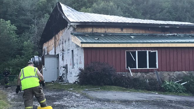 Firefighters from several departments helped fight a blaze at the Brackney Inn in Brackney, Pa., on Saturday afternoon. The bar and restaurant recently re-opened following a previous fire the past October.