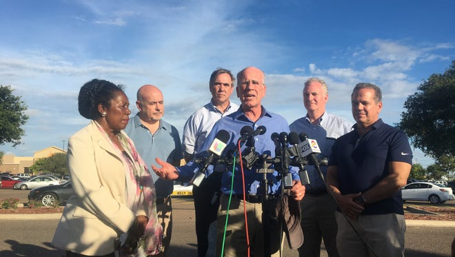 Rep. Peter Welch, D-Vt., speaks to reporters on Sunday, JUne 17, 2018, in front of Casa Padre, the former Walmart in Brownsville, Texas, turned makeshift prison for migrant kids.Welch was part of a congressional delegation visiting the border to investigate the U.S. policy of separating children from their family members who present themselves to immigration without proper documentation. Surrounding Welch are, from left, Rep. Sheila Jackson Lee, D-Texas, Rep. Mark Pocan, D-Wis., Sen Jeff Merkley, D-Ore., Sen. Chris Van Hollen, D-Md., and Rep.David Cicilline , D-R.I.