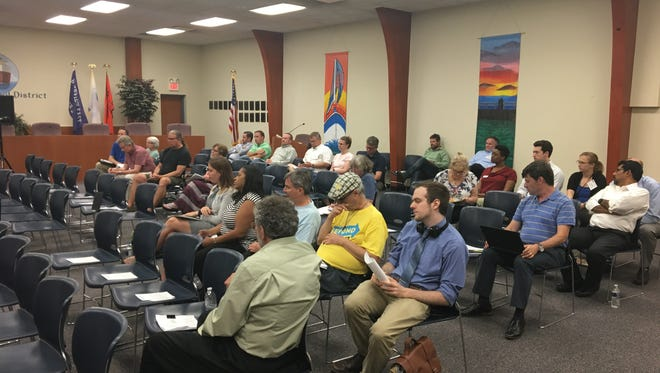 A public hearing over a permit from the Michigan Department of Environmental Quality for DTE Energy's proposed $1 billion natural-gas plant garnered a small crowd on Monday, June 18, 2018, at the East China Schools' administrative building.