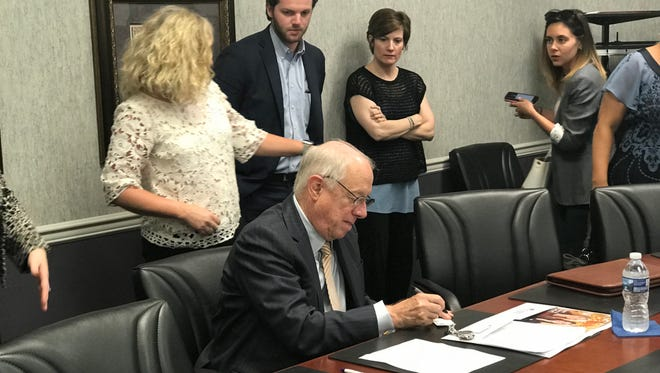 Phil Bredesen, Democratic candidate for U.S. Senate in Tennessee, takes notes after a roundtable held Wednesday, June 20 at the East Tennessee Children's Hospital.