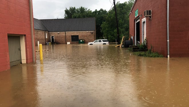 Floodwaters just off Lewis Street in Staunton.