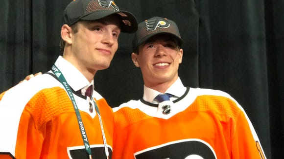 Joel Farabee, left, and Jay O'Brien were selected No. 14 and 19 respectively in the first round by the Flyers.
