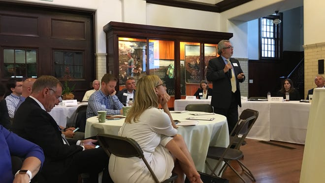 Glenn Mass of NJIT speaks to the Somerset County Business Partnership at Duke Farms on June 20.