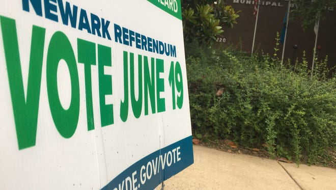 A sign sits outside of the Newark Municipal Building in June alerting residents to a $27 million capital referendum.