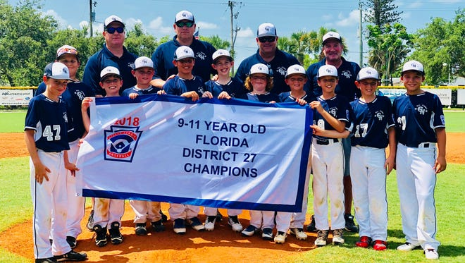 Representing District 27 champion Greater Naples at the upcoming Section 6 Little League 9-11 tournament will be 11 players - Rober Amell, Nico Blano, Ryder Brown, Carson Felts, William Freshwater, Nathaniel Kantor, Colin Murphy, Cameron Shaker, Corey Shook, Alex Turner and Dylan Wiggins.