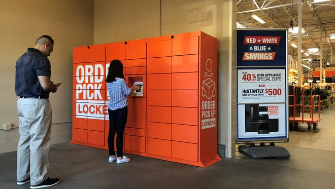 Customers are lining up in front of Home Depot's new lockers in Atlanta.